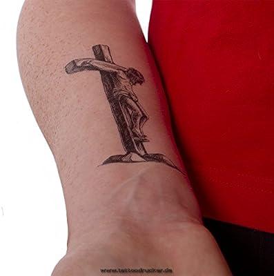 Amazon.com: 2 x Jesus Christ cross tattoo - black cross tattoo (2 ...