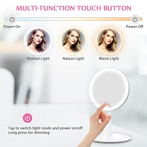 HOCOSY Lighted Makeup Mirror, 3 Color Lighting Modes LED Vanity Mirror with Light, Detachable 5X Magnification Mirror, USB Charging Lighted Cosmetic Mirror with Storage Tray