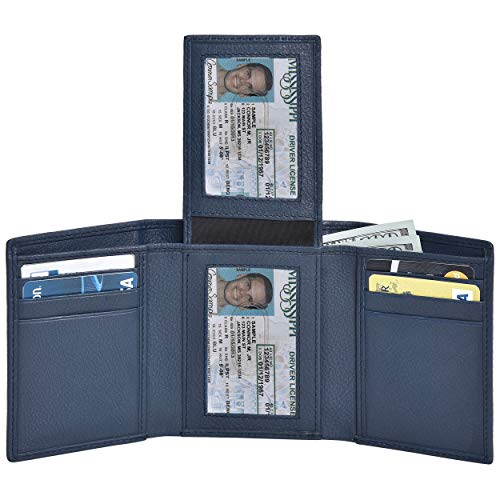 Genuine Leather Trifold Wallets for Men- RFID Blocking Secure Slim mens wallet credit card 2 ID window (Navy Nappa)