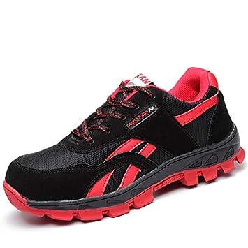 Zapatos de Seguridad para Soldador de Trabajo de Senderismo con Punta de Acero Compuesto para Hombres Resistentes a los pinchazos (Color : Negro, ...