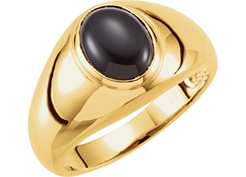 Onyx Cabochon 14k Yellow Gold Ring, Size 12.5 by The Men's Jewelry Store