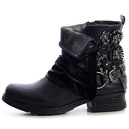 Mujer Topschuhe24 Boots Botines Worker Botín Negro UqwdaxFSqn