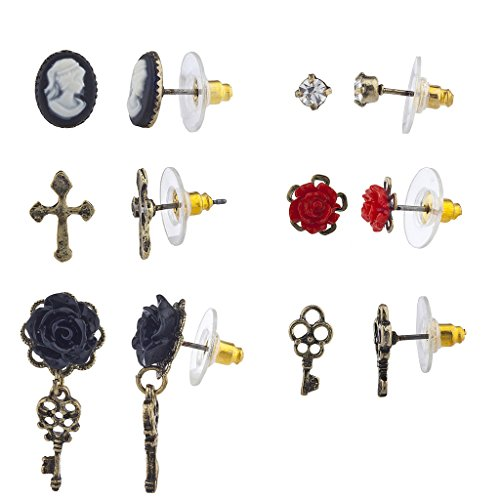 Cameo Set Earrings (Lux Accessories Burnished Gold Tone Regal Cross Cameo Multiple Earring Set 6pc)