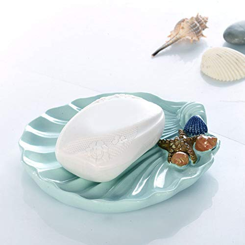 Oumefar Shell-Shape Resin Soap Dish Holder Wearable Soap Box Bathtub Decor for Sink(Blue, Seashell)