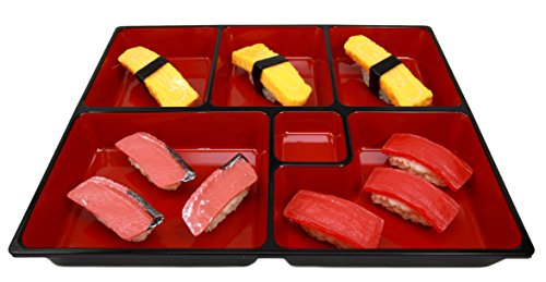 Atlantic Collectibles Japanese 6 Compartments Bento Box Style Lacquered Plastic Serving or Display Platter Tray 11.5'' by 9.25'' by Atlantic