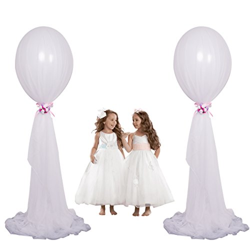Tulle Kit (24 inch Large Clear Latex Balloons White Latex Balloons Long Tulle Balloons With Column Base Kit for Baby Shower Party Weeding Decoration(White Tulle Balloons, 2 pack)