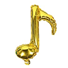 MonkeyJack 10 Pieces Single Music Note Foil Balloons Birthday Concert Band Concert Decoration Gold