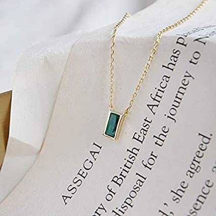 925 Sterling Silver Necklaces for Women Neckless Jewellery Davitu Exquisite Gold Color Chain Mini Green Crystal Rectangle Necklace Metal Color: Gold-Color