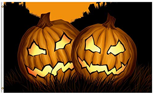 ShineSnow Seasonal Halloween Holiday Pumpkin 5x8 Feet Flag, Polyester Scary Double Stitched with Brass Grommets 5 X 8 Ft Flag for Outdoor Indoor Decor