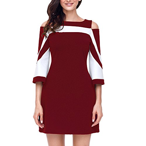 HGWXX7 Women Summer Dress Casual Bodycon Splice Strapless Speaker Sleeve Evening Party Mini Dress Skirt (XL, Red) from HGWXX7