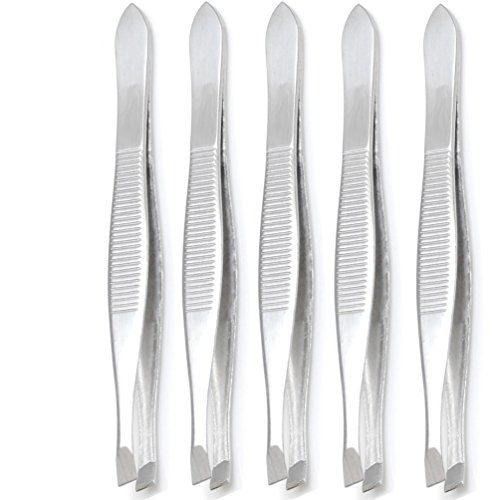 Luxxi (5 Pack) Slant Tweezers – Precision Sturdy Stainless Steel Slant Tip Tweezers Hair Plucker for Hair and Eyebrows…