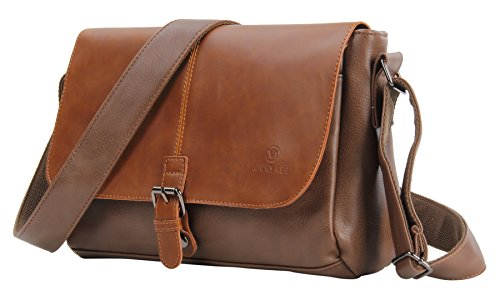 HONEYJOY Men's Vintage PU Leather Messenger Bag Satchel Shoulder Laptop Bags Business Working Bag (Saddle Old English Bag)