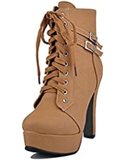 SJJH Women Ankle Martin Boots with Thick Platform and High Heel