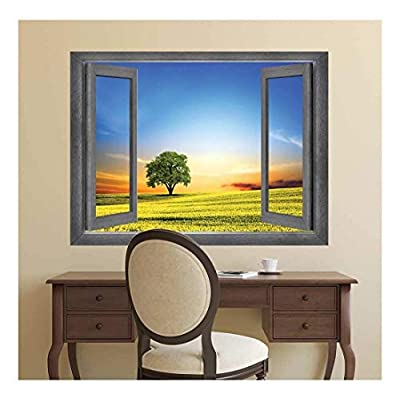 Delightful Technique, Open Window Creative Wall Decor A Majestic View at Sunset Wall Mural, Classic Artwork