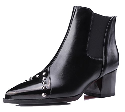 HiTime Womens Stylish Rivets Fashion Boots Pointed Toe Biker Boots Mid Block Heels Slip On Chelsea Bootie Black (Winter)
