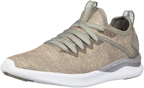 PUMA Women's Ignite Flash Evoknit En Pointe Wn Sneaker, Rock Ridge-Metallic Beige, 8 M US