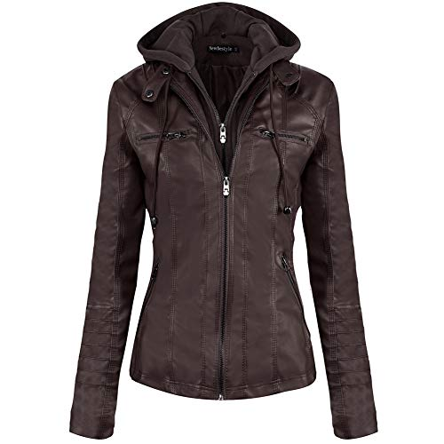 Newbestyle Women's Faux Leather Moto Biker Jacket Removable Hoodie Zipper Coat Dark Brown from Newbestyle