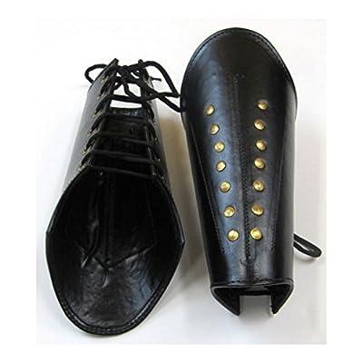 Armor Venue Faux Leather Arm Guards - Medieval Bracers - Black - One Size