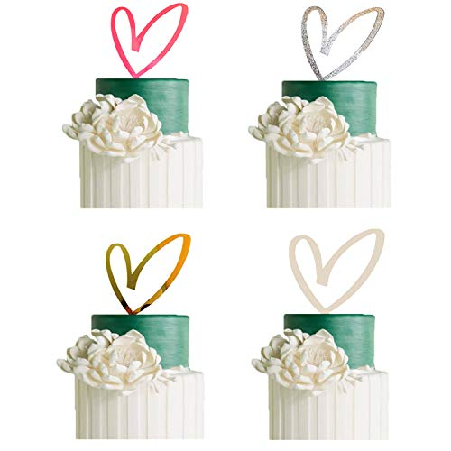 4 Pack Wedding Cake Toppers Mankujin for Bridal Shower Wedding Party Decorations Heart Acrylic Mother's Day Gift Bridal Shower Cake Decorating