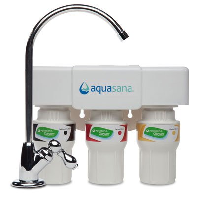 Aquasana 3-Stratum Under Sink Water Filter System with Chrome Faucet