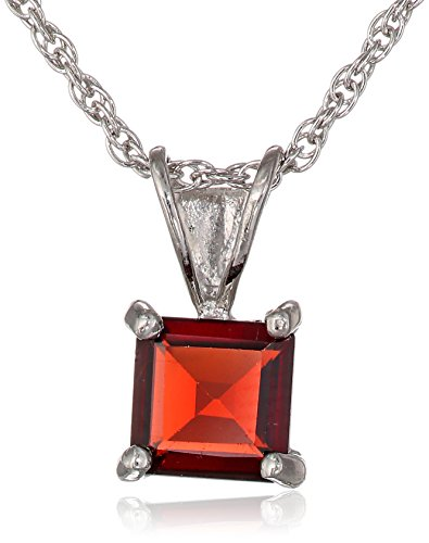 Sterling Silver Square shape-Cut Garnet Pendant Necklace (Pendant Garnet Square)