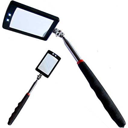 Xtools Telescopic Inspection Mirror with 2 Bright LEDs Extends 29-87cm