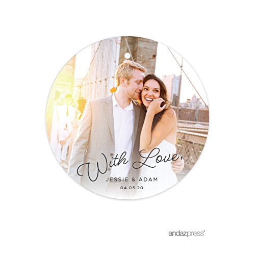 Andaz Press Photo Personalized Beloved Wedding Collection, Round Circle Gift Tags, 24-Pack, Custom Image - Beloved Collection