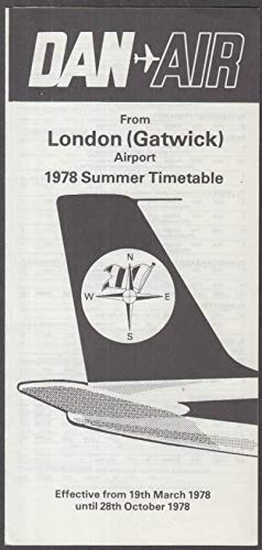 Dan-Air Airlines Summer Timetable from London/Gatwick 1978
