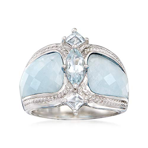 Ross-Simons Milky Aquamarine & .85 ct. t.w. Blue Aquamarine Ring in Sterling Silver ()