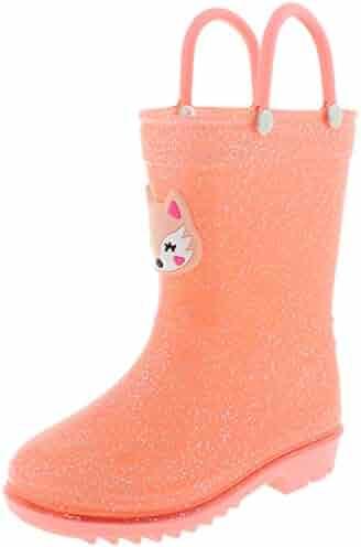 71b20ad12c12 Capelli New York Toddler Girls Pretty Fox Rain Boots with 3D Applique and  Allover Glitter