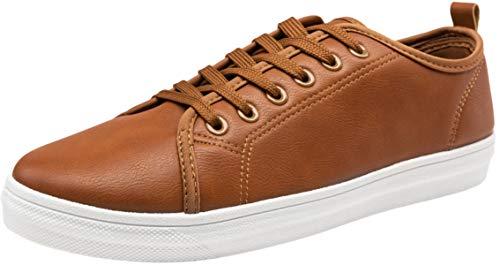 JOUSEN Men's Casual Shoes Memory Foam Fashion Sneakers Canvas Skate Shoes (10,Brown)