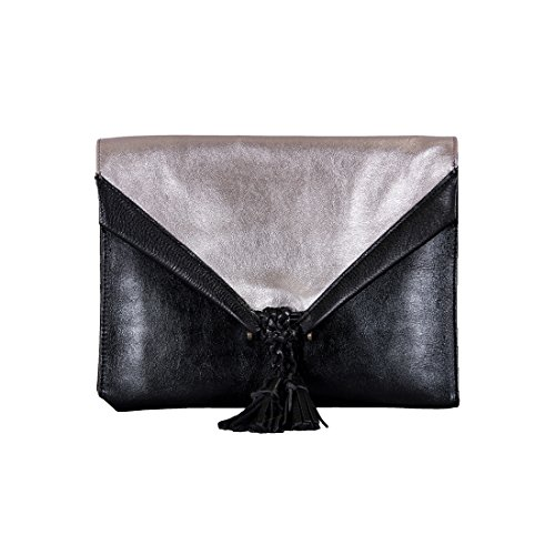 Embrazio Savannah Leather Envelope Clutch and Crossbody Purse - Black with Metallic Silver by Embrazio