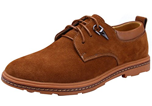 Runday Men's Round Toe Lace Up Casual Breathable Leather Fashion Oxfords(10.5 D(M)US,tan) (10.5 D(M) US, Tan)