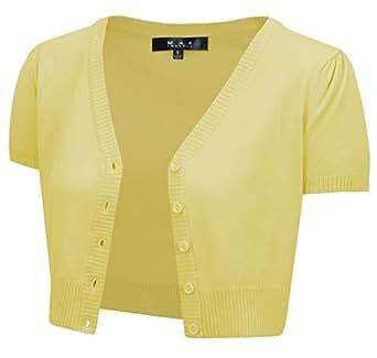 YEMAK Short Sleeve Cropped Bolero Cardigan Sweater Vintage Inspired Pinup HB2137-BYL-4X Baby Yellow