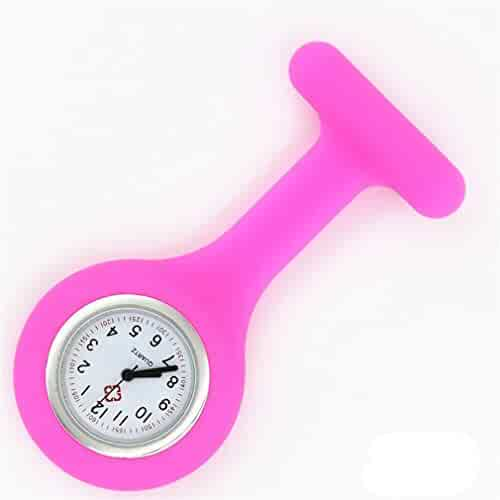 NEW Silicone Quartz Movement Nurse Brooch Fob Tunic Pocket Watch Hot Pink