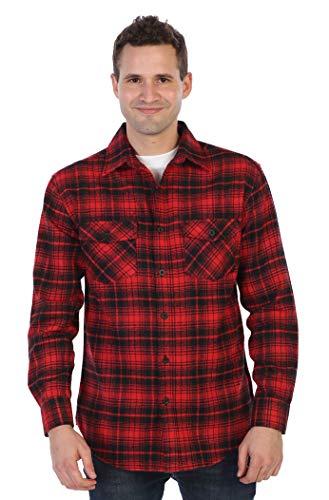 - Gioberti Men's Flannel Shirt, Red/Black Checkered Plaid, Large