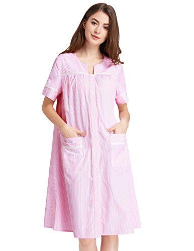 (Zexxxy Ladies Long Nightie Nightdress Button Short Sleeve Lounger Robe Pink M)