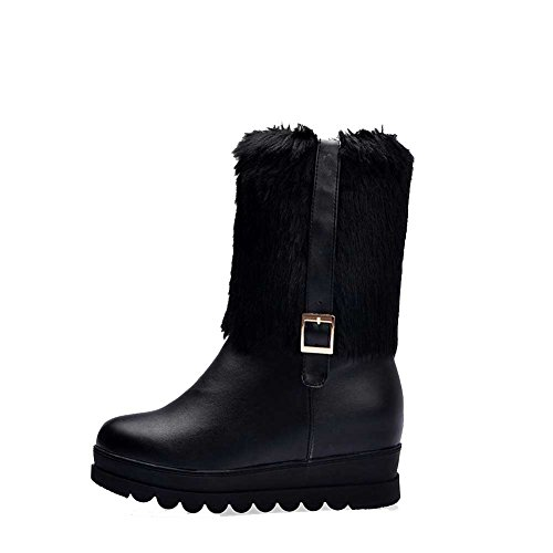 Low on Pull High WeiPoot Solid Women's Heels PU Black top Boots TwaaUYx