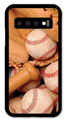 Samsung S10+ Case Slim Fit - Hard Shell Plastic - Full Protective Cover for Samsung Galaxy S10+ (Plus) - Baseball Bats & Balls (Art Plates Baseballs)
