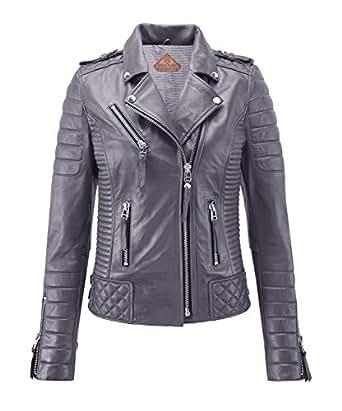 SKINOUTFIT Women's Leather Jackets Motorcycle Biker Genuine Lambskin XS Gray