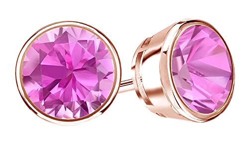 Round Cut Pink Sapphire Stud Earrings in - New Pink Sapphire Shopping Results