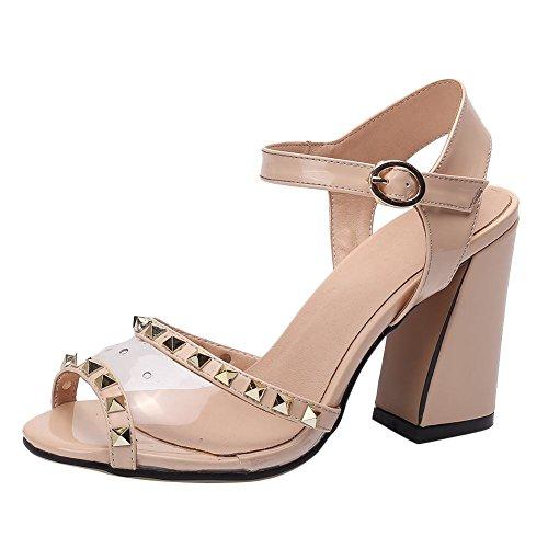 Mee Shoes Women's Charm Mesh Rivet Buckle High Heel Sandals Beige