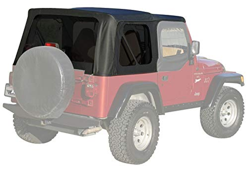 01 Top Wrangler Jeep (RAMPAGE PRODUCTS 99335 Factory Replacement Soft Top for 1997-2006 Jeep Wrangler with Full Steel Doors, Black Diamond w/Tinted Windows)