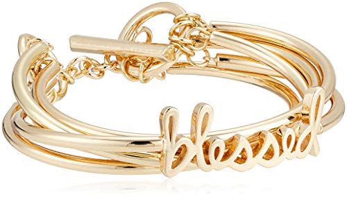 BCBG Generation Women's Blessed Affirmation Multi Row Toggle Bracelet, Gold, One Size