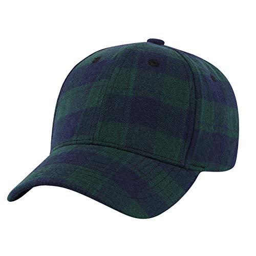 Ball Plaid Cap (DOCILA Plaid Youth Baseball Caps Adjustable Modern Green Blue Cotton Hat for College)