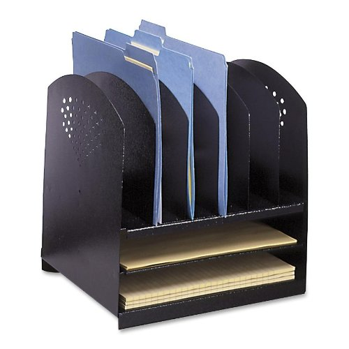 Safco Products 3166BL Steel Desk Combination Organizer Rack with 6 Vertical/2 Horizontal Sections, Black - Six Horizontal Sections