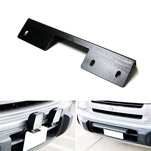 (iJDMTOY Miniature Front Bumper License Plate Mount Bracket Holder For Off-Road Lights, LED Work Lamps, LED Lighting Bars, etc (Black Finish))