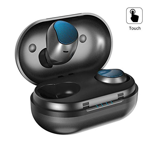 Wireless Earbuds Bluetooth 5.0 A10 True Mini Wireless Dual-Ear Touch Volume Control Headphones 5D Stereo Earphones Ipx7 Waterproof Sports Headset with Charging Case/Built-in Mic(Upgraded Blue)