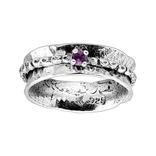Silpada 'Whimsical' Natural Amethyst Accent Spinner Ring in Sterling Silver