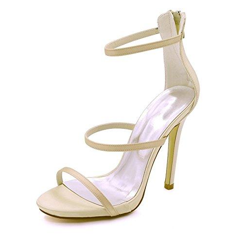 ZHZNVX Zapatos de mujer de satén de bomba básica Primavera Verano sandalias Stiletto talón Open toe hebilla para Boda,noche Púrpura Rojo Azul real Champagne
